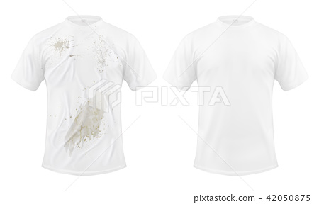 Set of illustrations of a white T-shirt with a dirty stain and clean, before and after dry cleaning 42050875