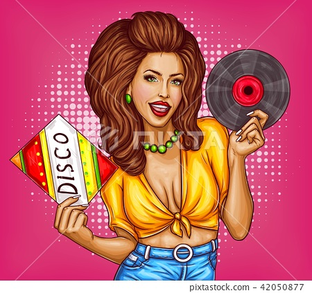 Young woman with disco vinyl record pop art  42050877