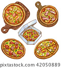 Set of illustrations whole pizza and slice, pizza on a wooden board, pizza in a box for delivery. 42050889