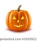Scary pumpkin halloween lantern realistic  42050922