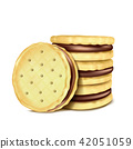 illustration of several sandwich-cookies with chocolate filling. 42051059