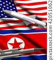 American and North Korean missiles on flags  42051062