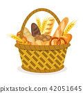 Basket with wheat and fresh bread. 42051645