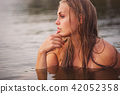 beautiful blonde girl in water 42052358