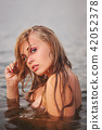 beautiful blonde girl in water 42052378