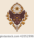 Black sphinx cat head with mysterious look  42052996