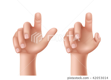 Set of illustrations of a male or female hand with a raised index finger. 42053014