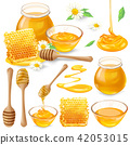 Set of illustrations of honey in honeycombs, in a jar, dripping from honey dipper 42053015