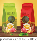 Bright paper packaging for tea hand drawn  42053017