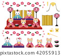 set of dolls on display, hinamatsuri, cat 42055913