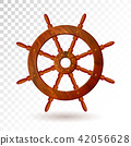 Ship steering wheel isolated on transparent background. Detailed vector illustration for your design 42056628