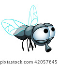 Cartoon fly with big eyes isolated on a white background. Vector cartoon close-up illustration. 42057645