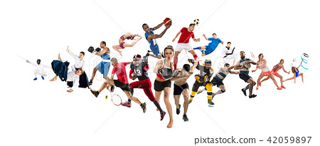 Sport collage about kickboxing, soccer, american football, basketball, ice hockey, badminton 42059897