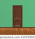 wooden entrance door vector 42059966