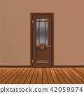 wooden entrance door vector 42059974