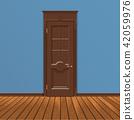 wooden entrance door vector 42059976