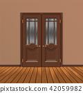 wooden double entrance door vector 42059982