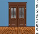 wooden double entrance door vector 42060005