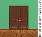 wooden double entrance door vector 42060024