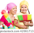 Mother and her daughter are dressed for cleaning 42061713