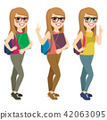 Nerd Student Girl Standing 42063095