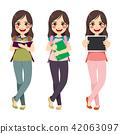 Brunette Student Girl Standing 42063097
