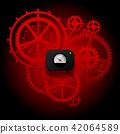 Red gear wheels of clockwork 42064589