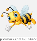 Cartoon happy bee waving hand 42074472