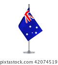 Australian flag hanging on the metallic pole 42074519