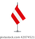 Austrian flag hanging on the metallic pole 42074521