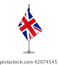 English flag hanging on the metallic pole 42074545