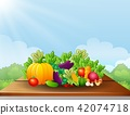 Cartoon fruits and vegetables on wooden table 42074718
