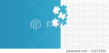 Creative vector illustration of jigsaw puzzle pieces background. Business concept art design blank 42075000