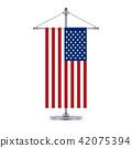 American flag on the cross metallic pole 42075394