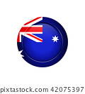 Australian flag on the round button, vector 42075397