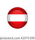 Austrian flag on the round button, vector 42075399