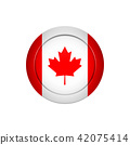 Canadian flag on the round button, vector 42075414