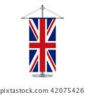 English flag on the cross metallic pole, vector 42075426