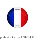 French flag on the round button, vector 42075431