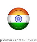 Indian flag on the round button, vector 42075439