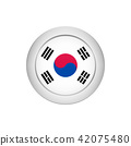 South Korean flag on the round button, vector 42075480