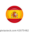 Spanish flag on the round button, vector 42075482