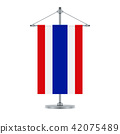 Thai flag on the metallic cross pole, vector 42075489