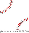 Creative vector illustration of sports baseball ball stitches, red lace seam isolated on transparent 42075740