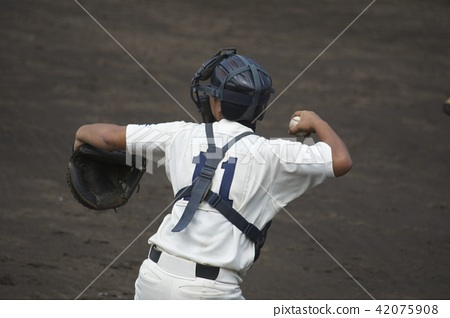 High School Baseball Catcher 42075908