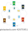 Garbage can infographic hexagon set 42075951