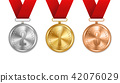 Creative vector illustration of realistic gold, silver and bronze medal set on colorful ribbon 42076029
