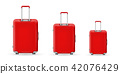 Creative vector illustration of realistic large polycarbonate travel plastic suitcase with wheels 42076429