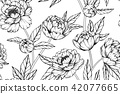 Seamless Peony flower pattern background.  42077665