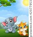 illustration of Baby elephant and baby fox cartoon 42077953